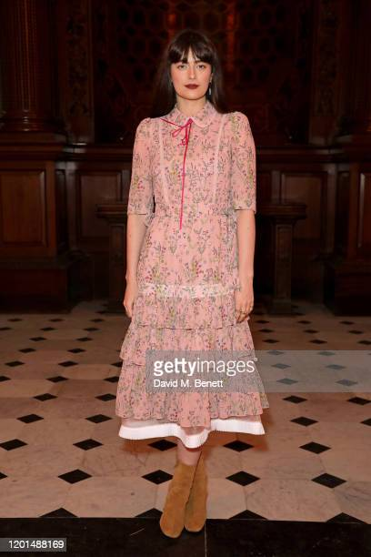 Millie Brady attends the BORA AKSU show during London Fashion Week February 2020 at St George's Bloomsbury on February 17 2020 in London England