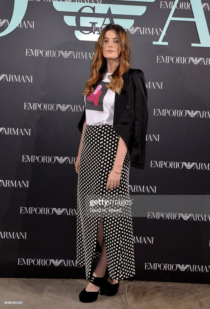 Millie Brady attends the Emporio Armani Show on September 17, 2017 in London, England.
