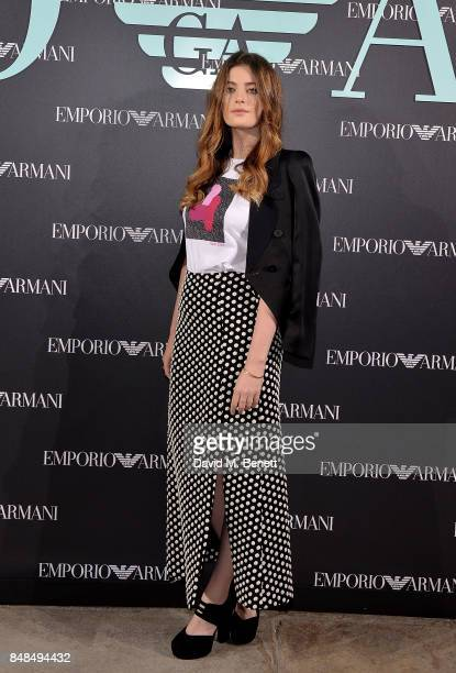 Millie Brady attends the Emporio Armani Show on September 17 2017 in London England