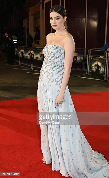 """Millie Brady attends the European Premiere of """"Pride And Prejudice And Zombies"""" at the Vue West End on February 1, 2016 in London, England."""