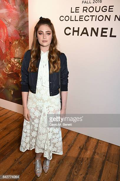 Millie Brady attends the launch of Lucia Pica's makeup collection for Chanel at Somerset House on June 23 2016 in London England