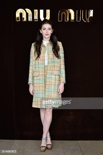 Millie Brady attends the Miu Miu show as part of the Paris Fashion Week Womenswear Fall / Winter 2016 on March 9 2016 in Paris France