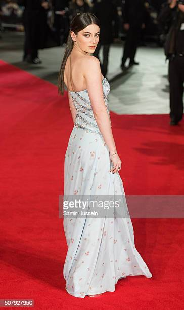 Millie Brady attends the red carpet for the European premiere for 'Pride And Prejudice And Zombies' on at Vue West End on February 1 2016 in London...