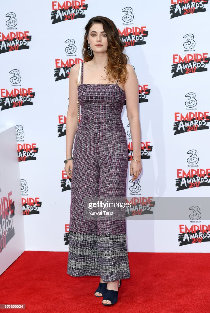 Millie Brady attends the THREE Empire awards at The Roundhouse on March 19, 2017 in London, England.