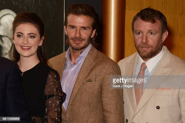 Millie Brady David Beckham and Guy Ritchie attend the European premiere of 'King Arthur Legend of the Sword' at Cineworld Empire on May 10 2017 in...