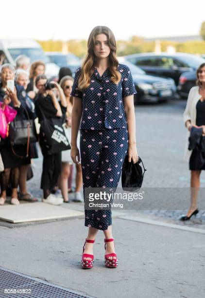Millie Brady outside Miu Miu Cruise Collection during Paris Fashion Week Haute Couture Fall/Winter 20172018 Day One on July 2 2017 in Paris France