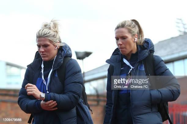 Millie Bright and Carly Telford of Chelsea arrives during the FA Women's Continental League Cup Final Chelsea FC Women and Arsenal FC Women at City...