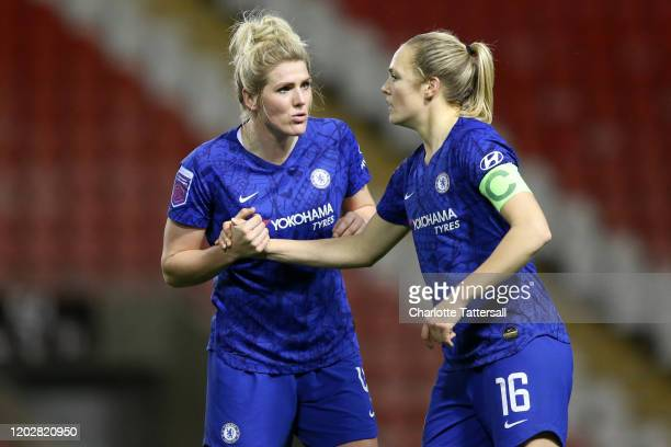 Millie Bright and Magdalena Eriksson of Chelsea FC celebrate during the FA Women's Continental League Cup SemiFinal match between Manchester United...