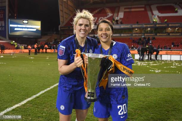 Millie Bright of Chelsea and Sam Kerr of Chelsea with the cup during the FA Women's Continental League Cup Final Chelsea FC Women and Arsenal FC...