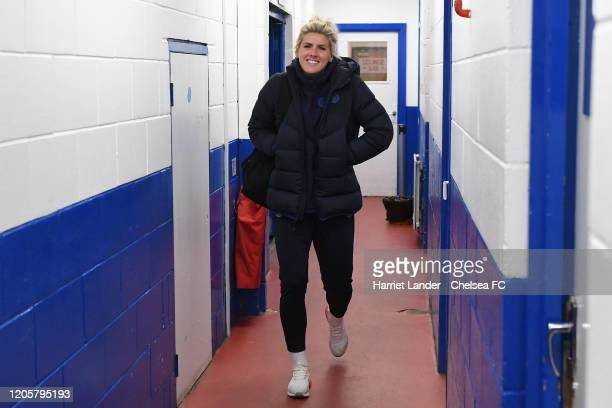 Millie Bright of Chelsea arrives at the stadium prior to the Barclays FA Women's Super League match between Chelsea and Birmingham City at...