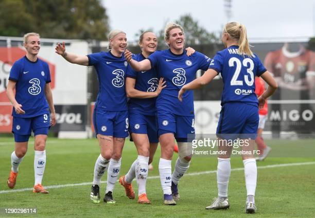 Millie Bright of Chelsea celebrates with teammates Bethany England, Magdalena Eriksson and Pernille Harder after scoring her team's second goal...