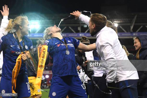 Millie Bright of Chelsea drinks champagne during the FA Women's Continental League Cup Final Chelsea FC Women and Arsenal FC Women at City Ground on...