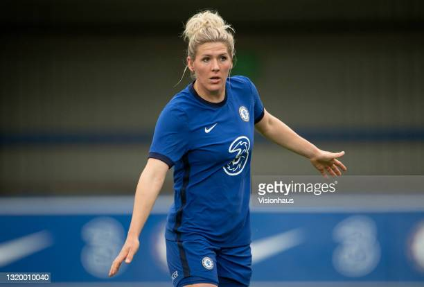 Millie Bright of Chelsea during the Vitality Women's FA Cup 5th Round match between Chelsea and Everton at Kingsmeadow on May 20, 2021 in Kingston...