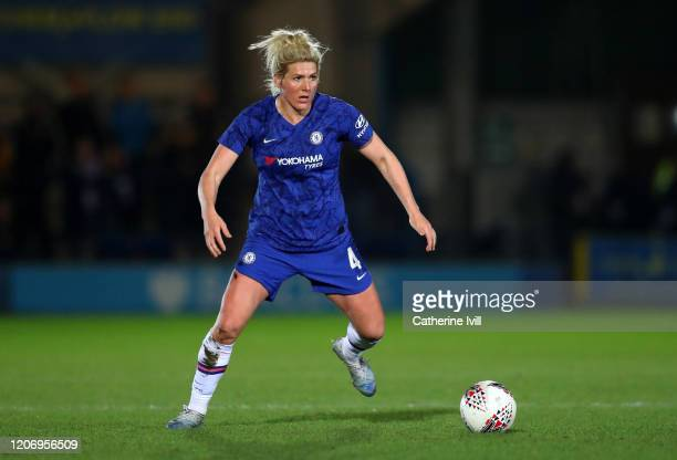 Millie Bright of Chelsea during The Women's FA Cup Fifth Round match between Chelsea Women and Liverpool Women at Kingsmeadow on February 17 2020 in...