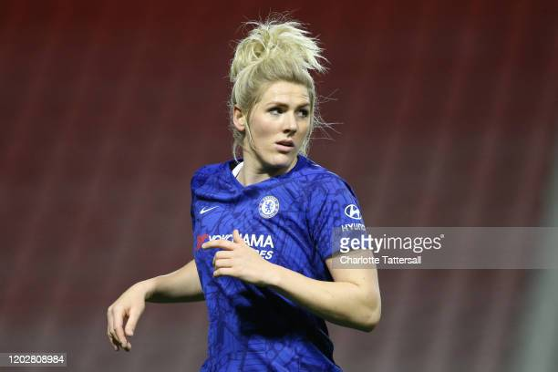 Millie Bright of Chelsea FC reacts during the FA Women's Continental League Cup SemiFinal match between Manchester United Women and Chelsea FC Women...