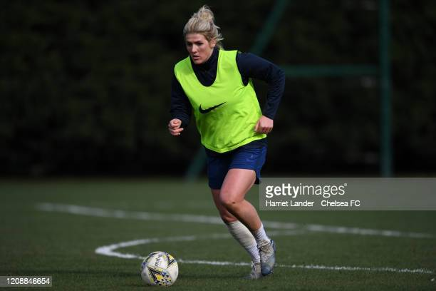 Millie Bright of Chelsea in action during a Chelsea FC Women's training session at Chelsea Training Ground on February 26 2020 in Cobham England