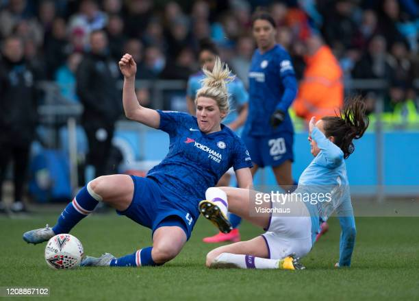 Millie Bright of Chelsea in action with Caroline Weir of Manchester City during the Barclays FA Women's Super League match between Manchester City...