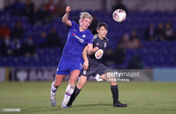 Millie Bright of Chelsea is challenged by Rachel Williams of Birmingham City during the Barclays FA Women's Super League match between Chelsea and...
