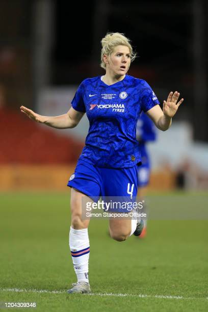 Millie Bright of Chelsea looks on during the FA Women's Continental League Cup Final between Chelsea FC Women and Arsenal FC Women at the City Ground...
