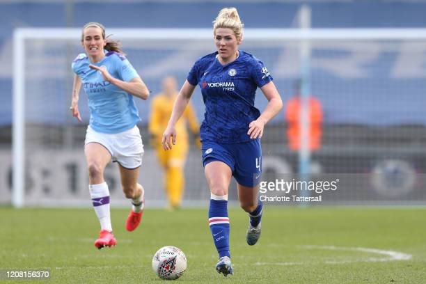 Millie Bright of Chelsea on the ball during the Barclays FA Women's Super League match between Manchester City and Chelsea at The Academy Stadium on...