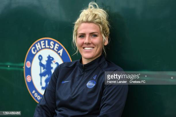 Millie Bright of Chelsea poses for a photograph as she signs a new contract with Chelsea FC Women at Chelsea Training Ground on August 07 2020 in...
