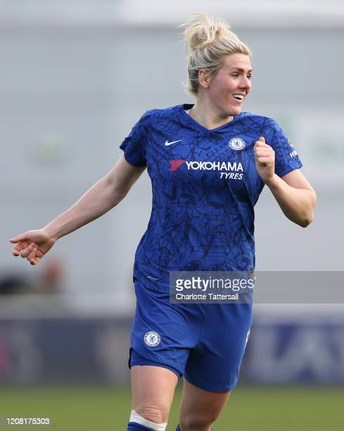Millie Bright of Chelsea reacts during the Barclays FA Women's Super League match between Manchester City and Chelsea at The Academy Stadium on...