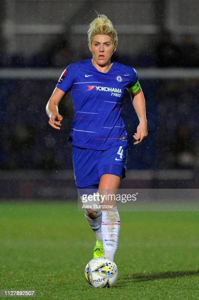 Millie Bright of Chelsea runs with the ball during the FA Continental Tyres Cup Semi Final match between Chelsea Women and Manchester City Women at...