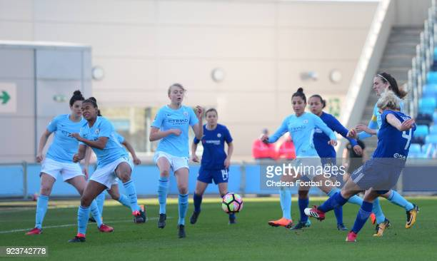 Millie Bright of Chelsea scores to make it 10 during a WSL match between Chelsea Ladies and Manchester City Women at the Academy Stadium on February...