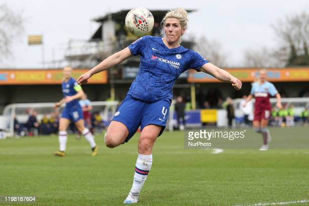 Millie Bright of Chelsea Women during the Barclays FA Women's Super League match between Chelsea and West Ham United at the Kingsmeadow Kingston on...