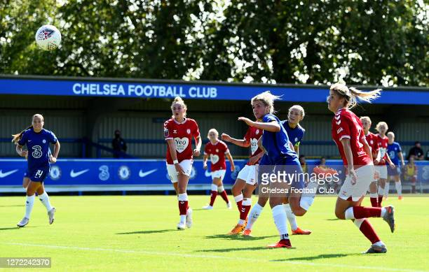 Millie Bright of Chelsea Women scores a goal during the Barclays FA Women's Super League match between Chelsea Women and Bristol City Women at...