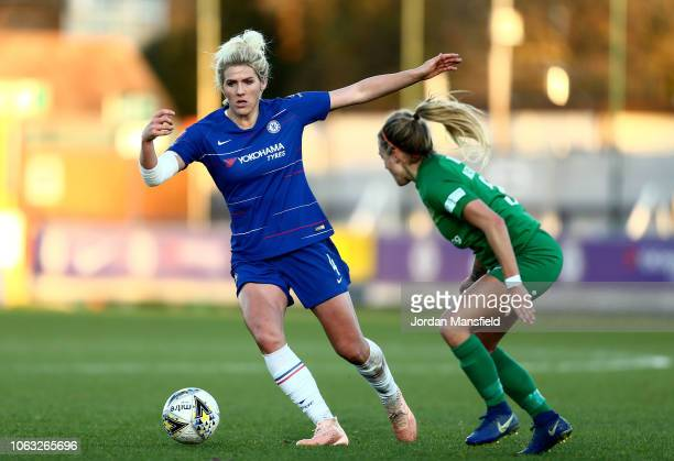Millie Bright of Chelsea Women takes the ball past Megan Alexander of Yeovil Ladies during the FA WSL match between Chelsea Women and Yeovil Town FC...
