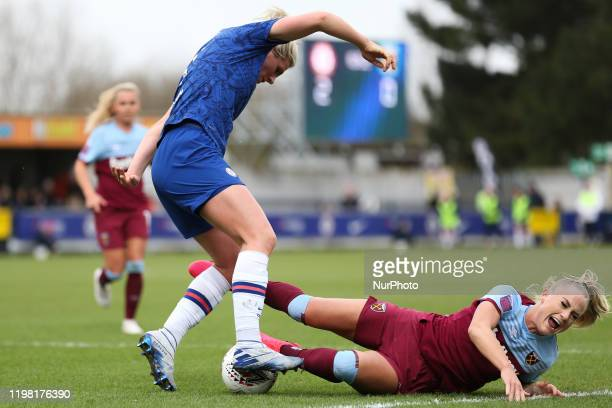 Millie Bright of Chelsea Women tripping Alisha Lehmann of West Ham United Women during the Barclays FA Women's Super League match between Chelsea and...