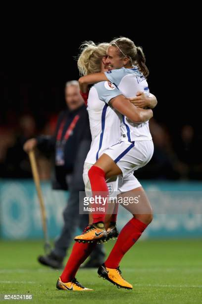 Millie Bright of England and Jordan Nobbs of England celebrate victory after the UEFA Women's Euro 2017 Quarter Final match between France and...