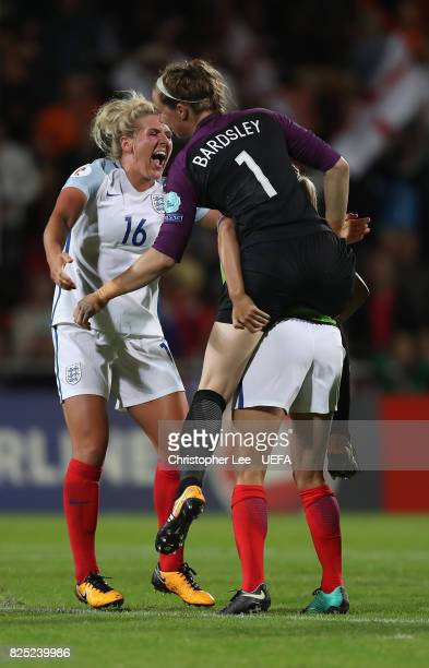 Millie Bright of England celebrates their victory with Karen Bardsley of England during the UEFA Women's Euro 2017 Quarter Final match between...