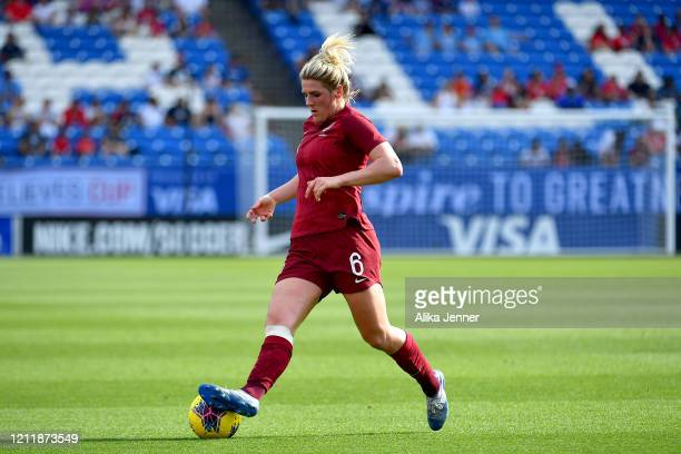 Millie Bright of England controls the ball during the first half of the SheBelieves Cup match against Spain at Toyota Stadium on March 11 2020 in...