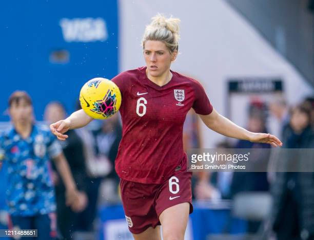 Millie Bright of England dribbles during a game between England and Japan at Red Bull Arena on March 08 2020 in Harrison New Jersey
