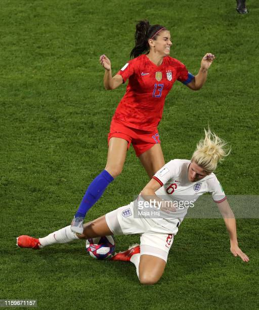 Millie Bright of England fouls Alex Morgan of the USA, leading to a second yellow, and therefore a red card during the 2019 FIFA Women's World Cup...