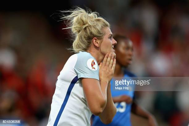 Millie Bright of England reacts during the UEFA Women's Euro 2017 Quarter Final match between France and England at Stadion De Adelaarshorst on July...