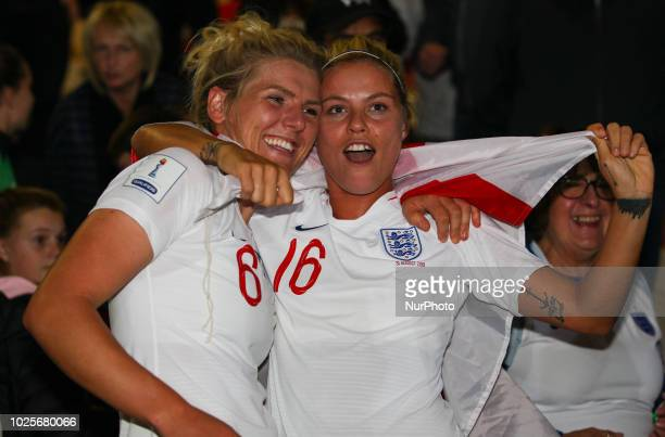 Millie Bright of England Women and Rachel Daly of England Women celebrate with fans at the final whistle during 2019 FIFA Women's World Cup Group 1...
