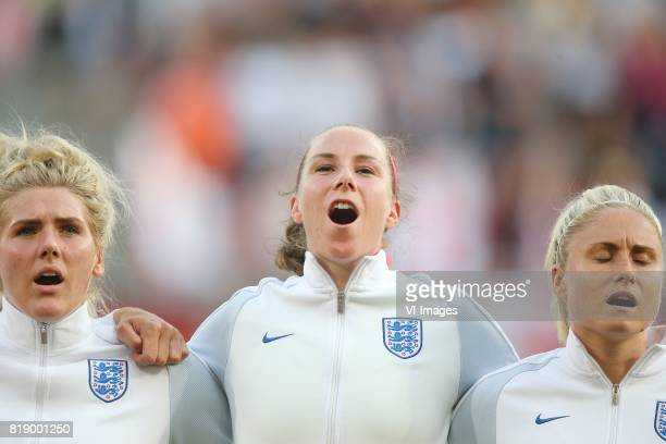 Millie Bright of England women goalkeeper Karen Bardsley of England women Steph Houghton of England women during the UEFA WEURO 2017 Group D group...