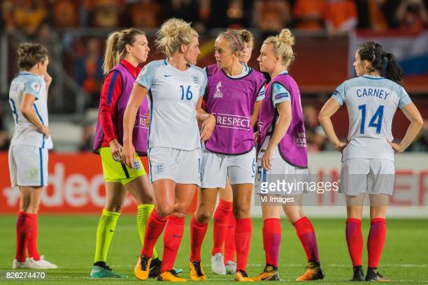 Millie Bright of England women Josanne Potter of England women Laura Bassett of England women during the semifinal UEFA WEURO 2017 match between The...