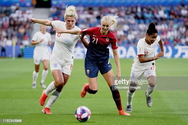 Millie Bright of England Women Karina Saevik of Norway Women Demi Stokes of England Women during the World Cup Women match between Norway v England...