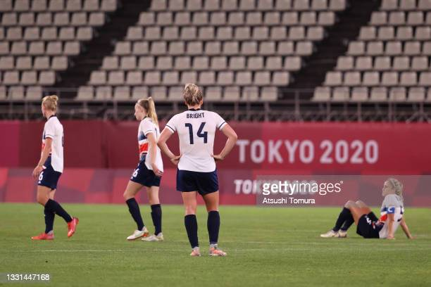 Millie Bright of Team Great Britain looks dejected after the Women's Quarter Final match between Great Britain and Australia on day seven of the...