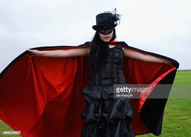 Millie Collins from Halifax poses for pictures during the Goth weekend on April 26 2014 in Whitby England The Whitby Goth weekend began in 1994 and...