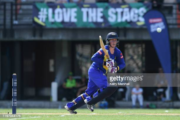 Millie Cowan of the Otago Sparks plays a shot during the Dream11 Super Smash match between Central Hinds and the Otago Sparks at McLean Park on...