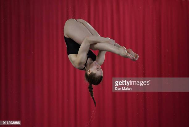 Millie Fowler of City of Sheffield Diving Club competes in the Womens 3m Springboard Preliminary round on day three of the British Diving...