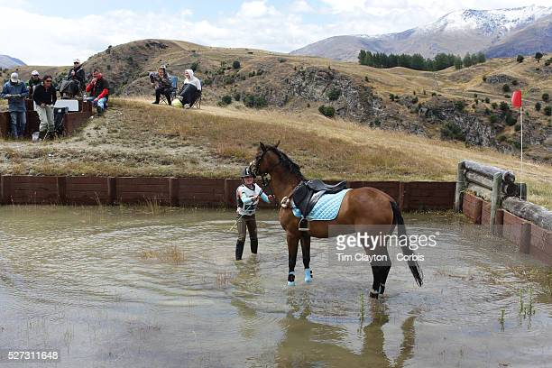 Millie Harrex12 from Alexandra riding Madame Satine comes to grief at the water jump during the Wakatipu One Day Horse Trials at the Pony club...