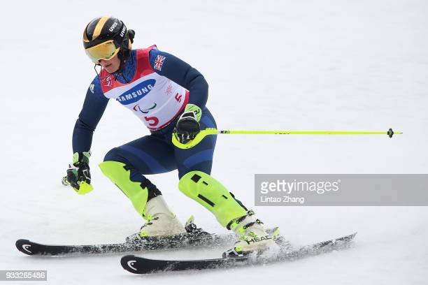 Millie Knight of Great Britain compete in the Women's Visually Impaired Slalom at Jeongseon Alpine Centre on Day 9 of the PyeongChang 2018 Paralympic...