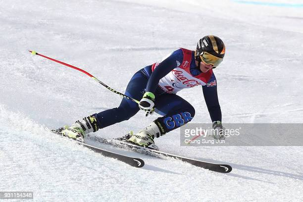 Millie Knight of Great Britain competes in the Alpine Skiing Women's SuperG Visually Impaired at the Jeongseon Alpine Centre during day four of the...