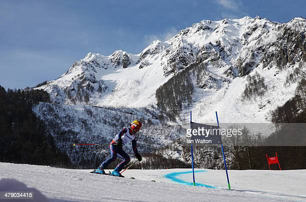 Millie Knight of Great Britain competes in the Women's Giant Slalom Visually Impaired during day nine of the Sochi 2014 Paralympic Winter Games at...